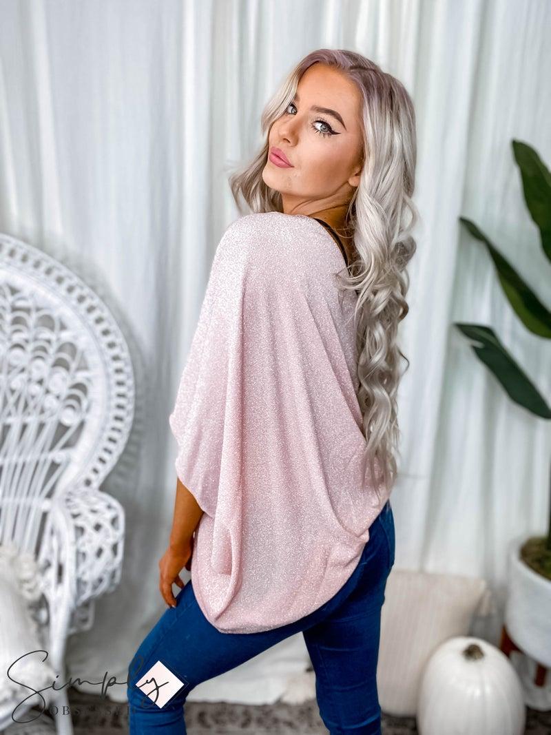 Main Strip - One shoulder long sleeve unblanc lurex knit top