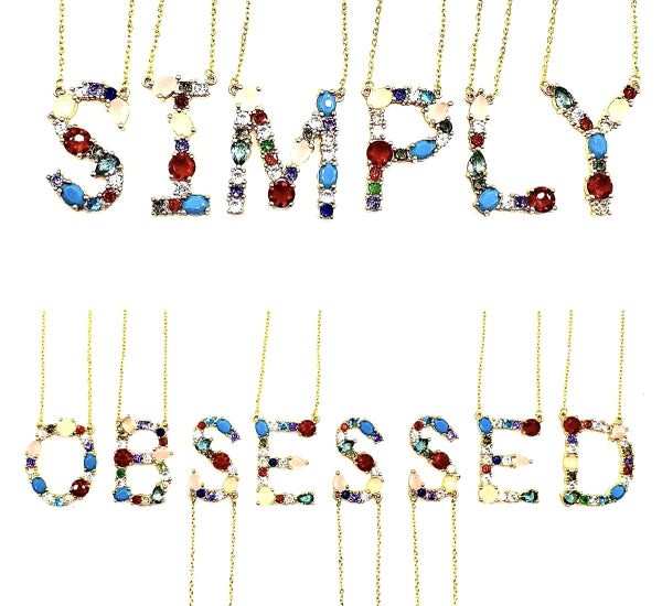 VJ - Multi-Jeweled Gold Initial Necklace