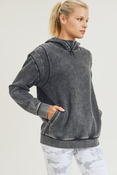 Mono B - Mineral wash fleece boxy hoodie pull over top