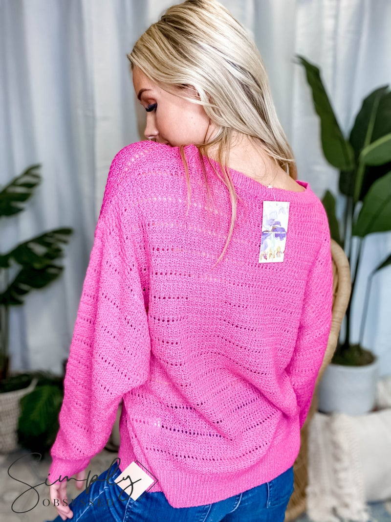 EE:Some - Long Sleeve Pointelle Sweater