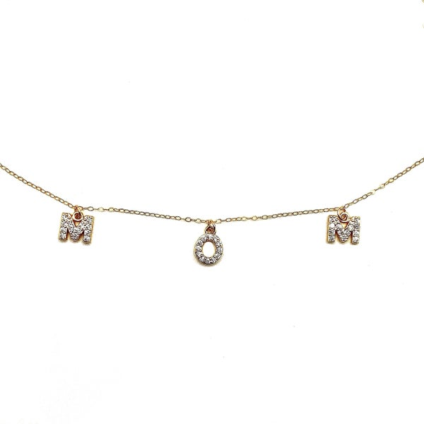"""LAALEE - Gold MOM Necklace 18"""" Chain"""
