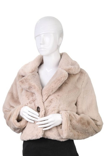 Fame Accessories - Faux fur cropped jacket