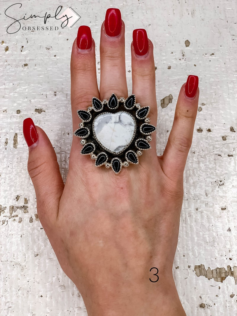 M & S - Howlite Heart w/ Black Onyx Cluster Ring