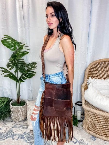 American Darling - Genuine Leather Dark Brown Stitch Designed Crossbody Bag w/Fringe Detail