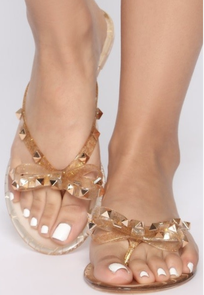 Womens jelly glitter stud bow sandals