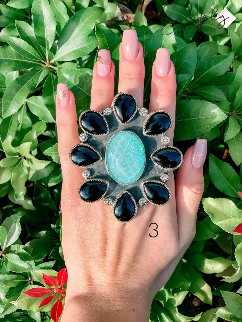 M & S - Iridescent Opal w/ Black Onyx Ring
