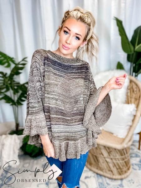 Camille & Co - Multi Color Sweater Poncho W/ Ruffles