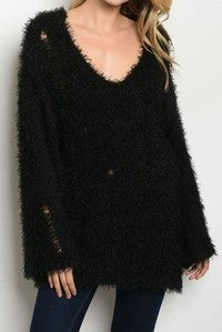 ROUSSEAU-LONG SLEEVE V NECK FUZZY KNIT PULL OVER SWEATER