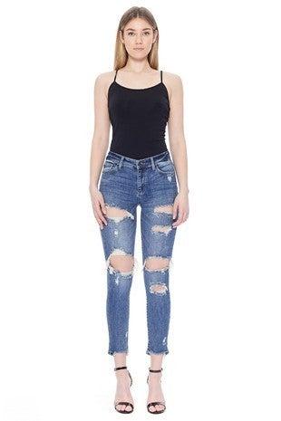 Judy Blue - Medium Rise Ripped Boyfriend Jeans (plus)