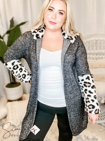 Blumin - Sherpa Contrast Cardigan With Pocket(All Sizes)