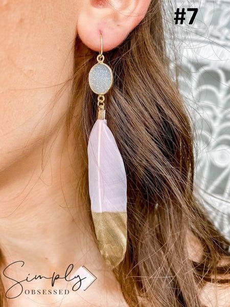 LAALEE - Hand- Dipped Feather Earrings W/Druzy