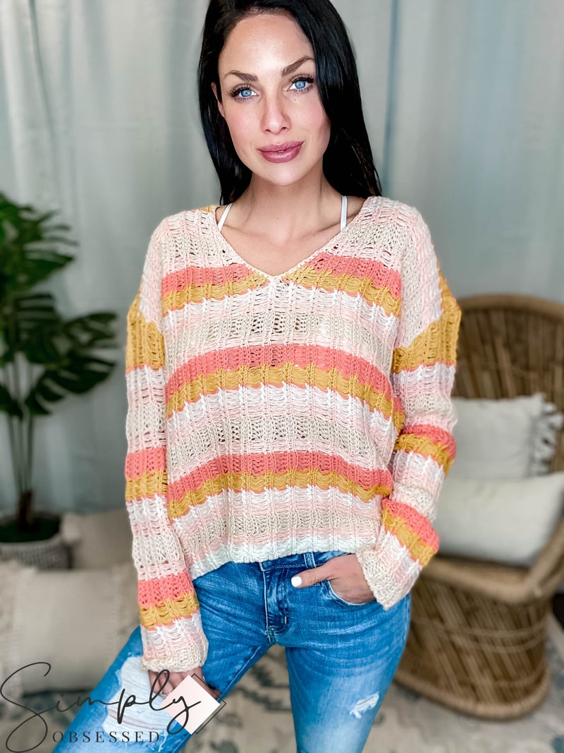 Hem & Thread - Open Stitch V Neck Stripe Sweater Top