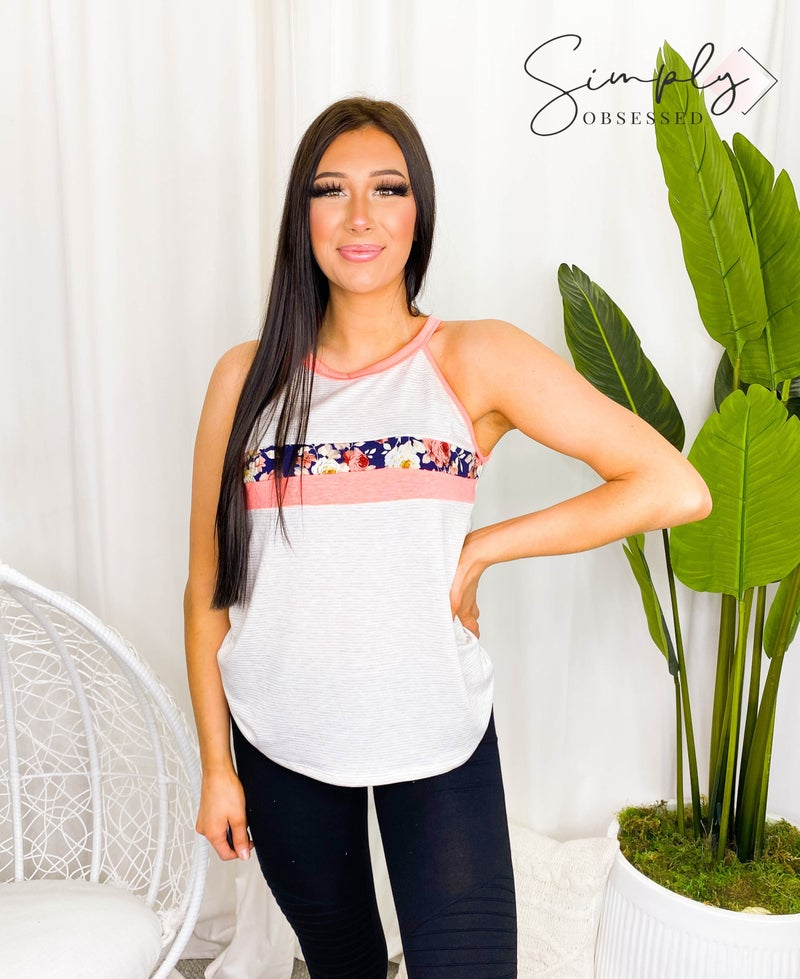 LOVELY MELODY-FLORAL DESIGN TANK WITH ROUND NECK