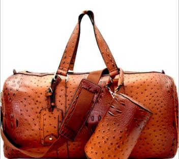 Le Miel - Ostrich print embossed 2 in 1 weekender duffle bag