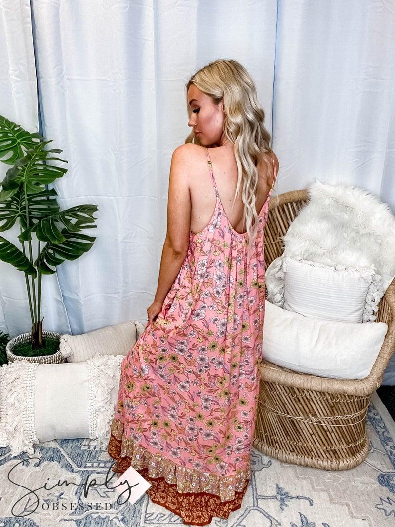 Kori - Floral Border Print Sleeveless Long Dress