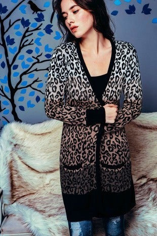 Sweater Land - Long sleeve leopard print gradient open cardigan