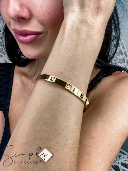 Accessory Concierge - Pyramid Spike Hinge Bracelet
