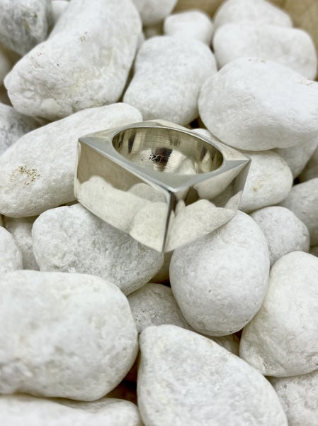 Tough Girl Chunky Squared Silver Ring