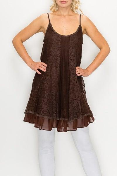 Origami - Sleeveless multi lace tunic dress