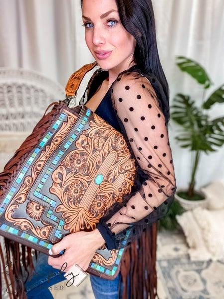 American Darling - Genuine Leather Aztec-ish Shoulder Bag W/Fringe