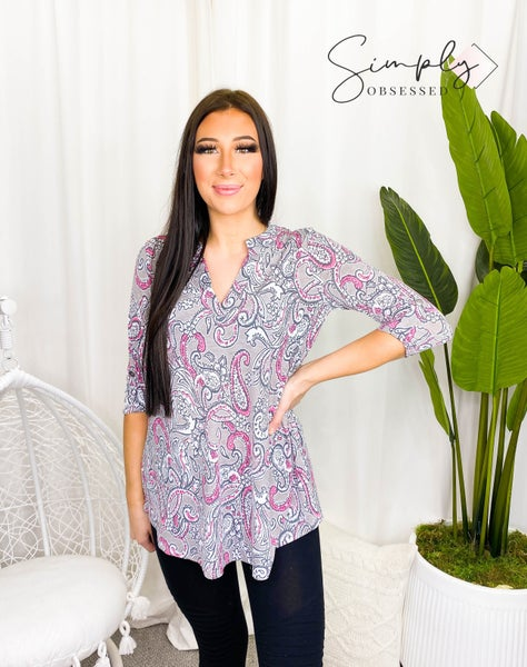 Sew In Love - Long sleeve loose fit floral v-neck top