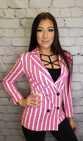 Lizette Collection - Stripe long sleeve blazer