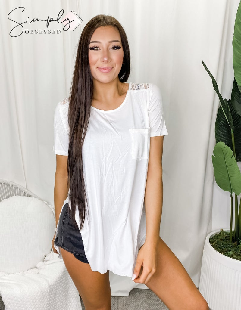 High low short sleeve pocket tee with shoulder lace detail