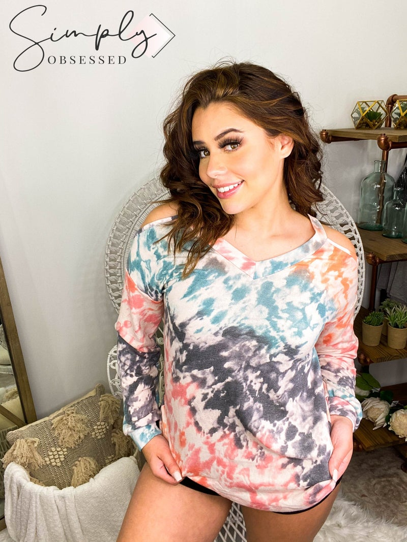 White Birch - Long sleeve tie dye v-neck with cutout shoulders