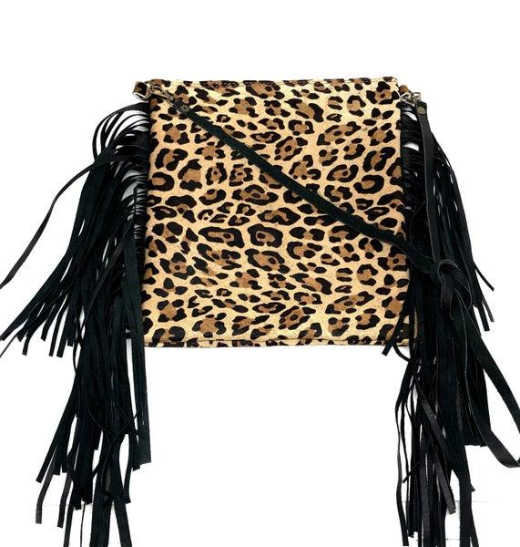 Hair-on-Hide Leopard Print Leather Handbag - Crossbody