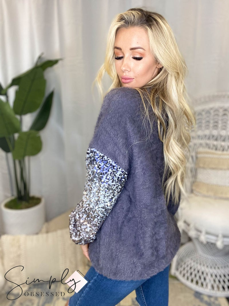 Lucky And Blessed - Sequin sleeve detail soft sweater(Plus Size)