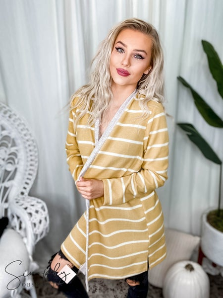 First Dibs Hailey & Co - Brushed hacci jumbo stripes cardigan  with side slits