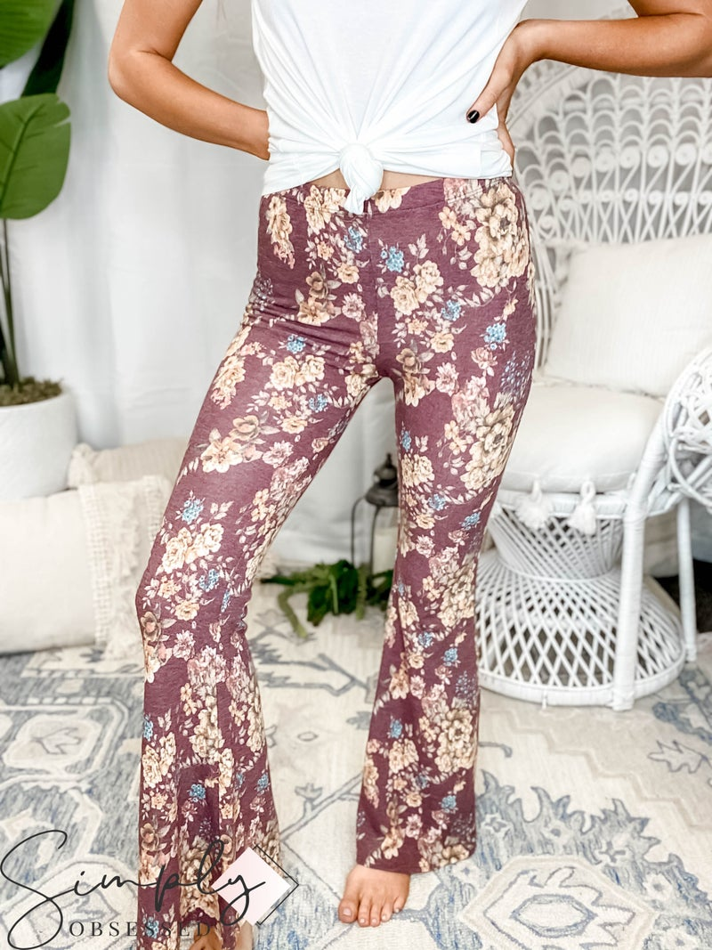 Bucketlist - Soft jersey floral print flare pants