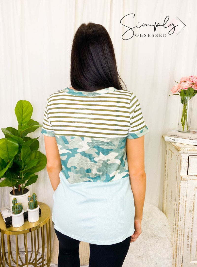 Hailey & Co - Camo and stripe print front knot detail top