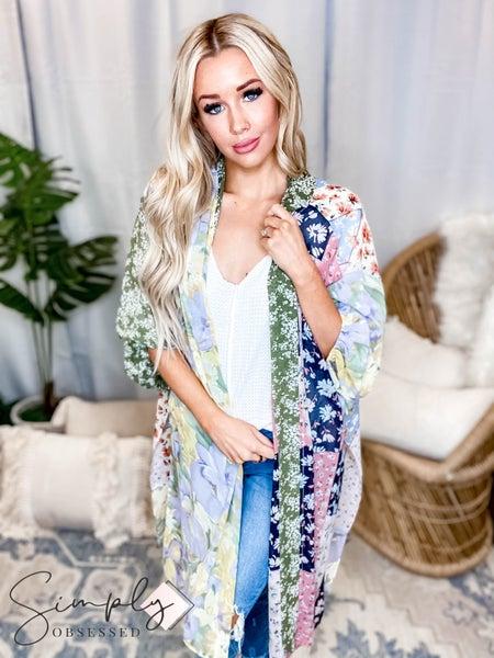 Jodifl - Floral patchwork print chiffon cardigan