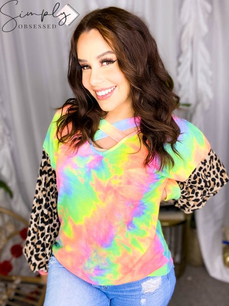 BiBi-TIE DYE TERRY TOP WITH LEOPARD PUFF SLEEVES