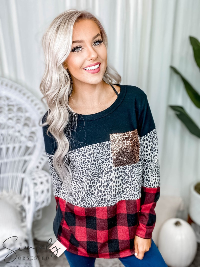 Vanilla Bay - Long sleeve color block plaid and leopard print top with sequin pocket
