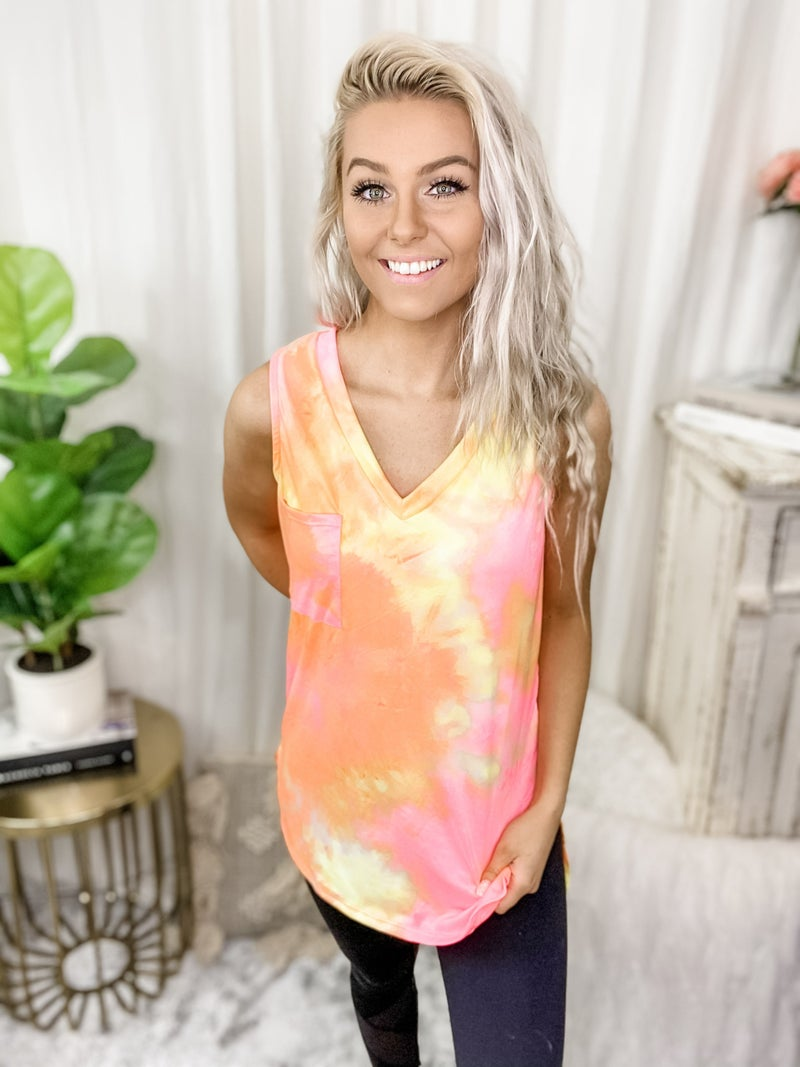 White Birch - Sleeveless tie dye knit top