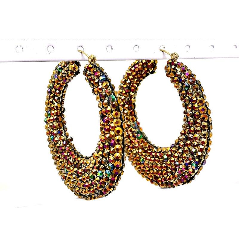 FJ - Colorful Studded Gold Hoop Earrings