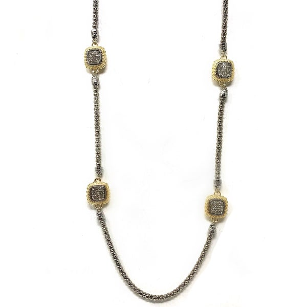 Long Chain Square Pave Necklace