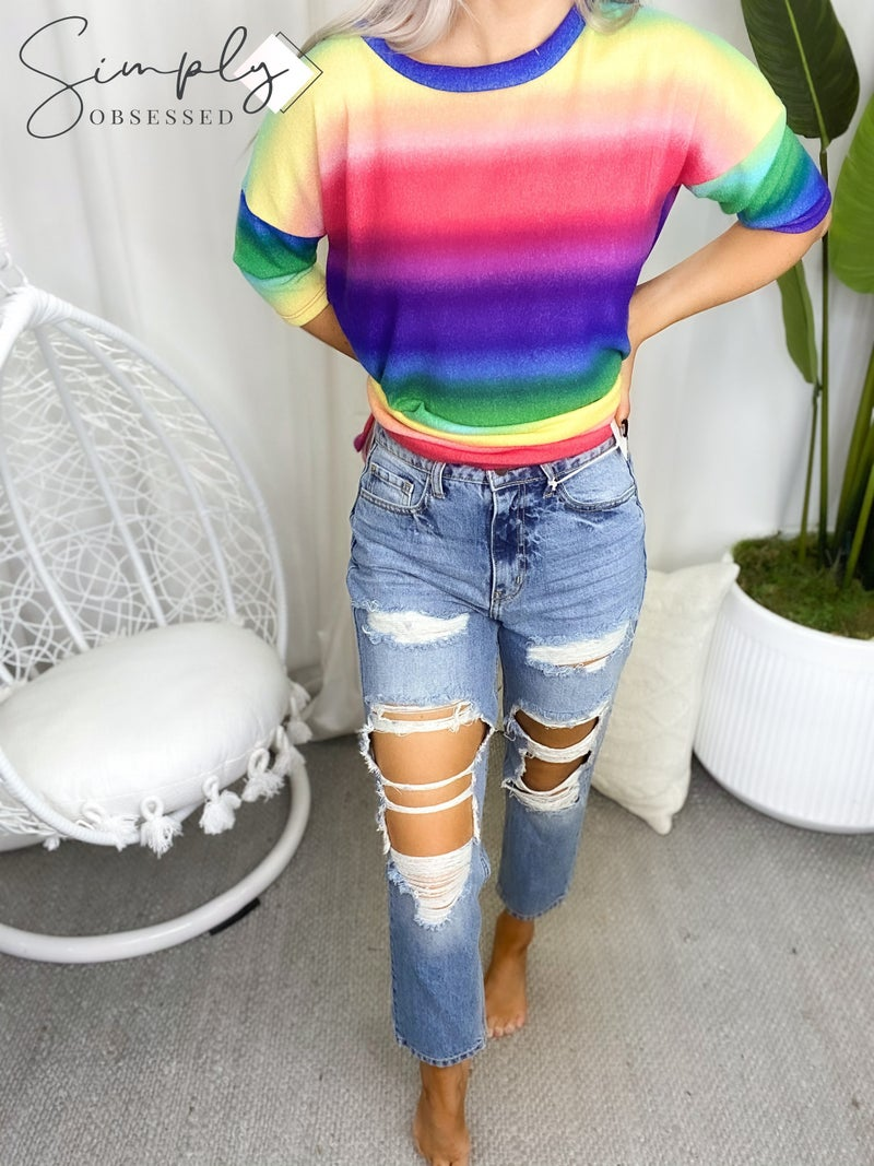 Cello - High Rise Distress Straight Jeans