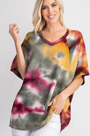 Rae Mode - Short sleeve tie dye loose fitting waffle top