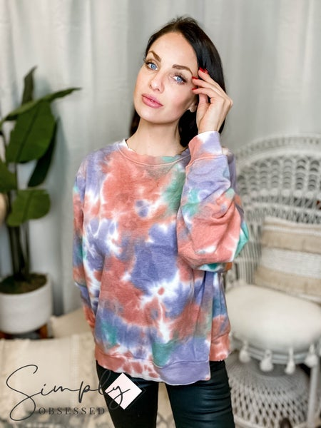 Easel - Tie dye long sleeve round neck top