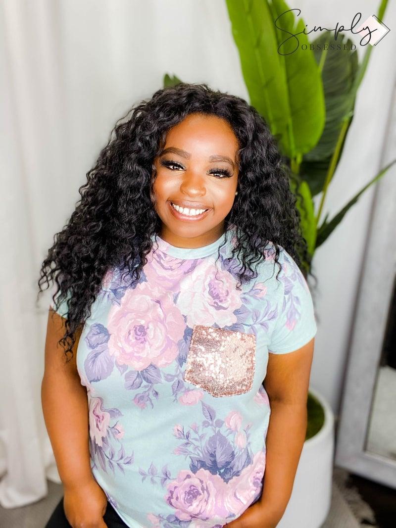 Vanilla Bay - Short sleeve floral print knit top(plus)