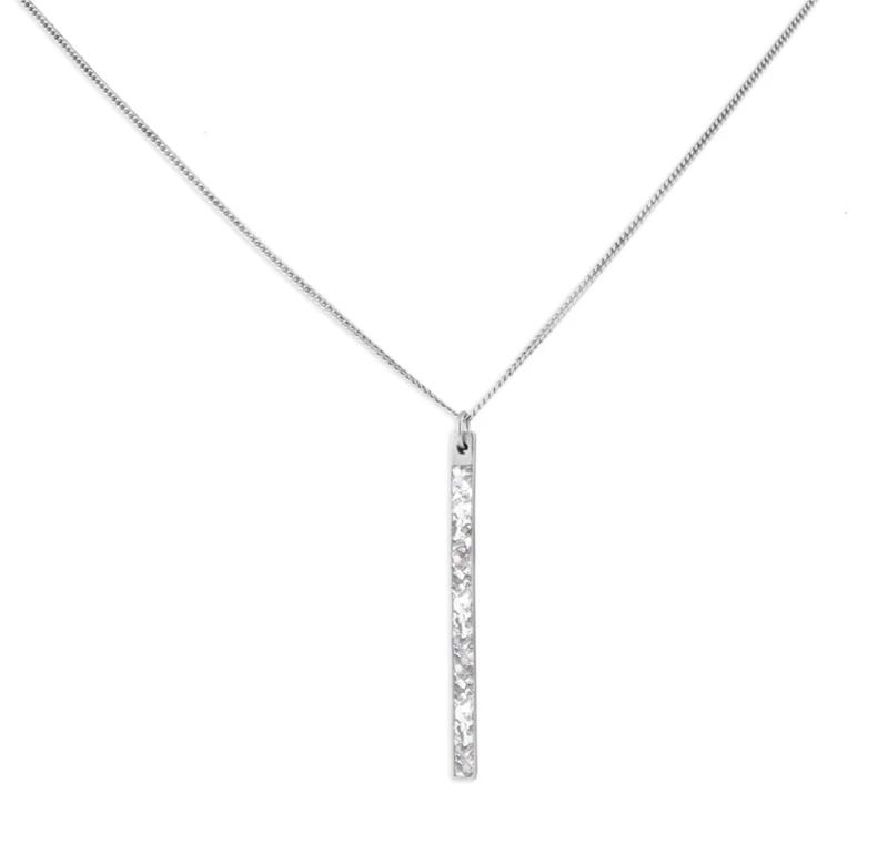 Gulati Jewelry - Miladi Pendant Real Diamond Bar Necklace Oxidized Silver