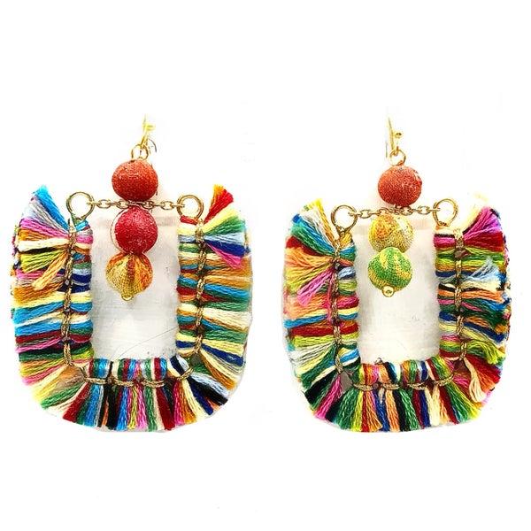 WORLD FINDS - Colorful U-Shaped Fringe Earrings