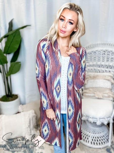 Sew In Love - Aztec Long Sleeve Cardigan