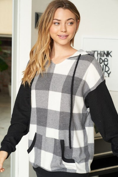 White Birch - Long sleeve buffalo plaid knit sweater(All Sizes)
