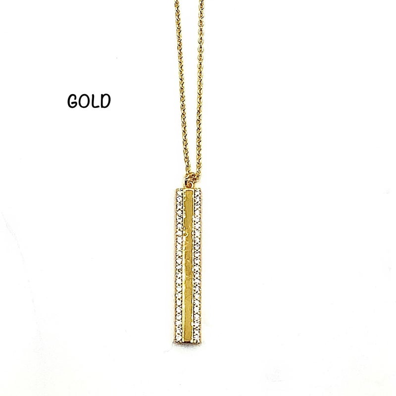 Crystal Drop Bar Necklace