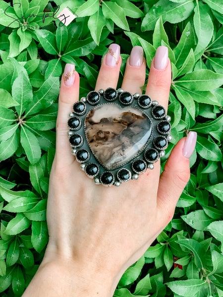 M & S - Montana Agate Heart w/ Black Onyx Ring