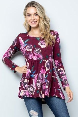 BE STAGE-floral tiered tunic